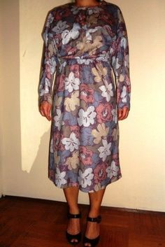 SALE CapeFront Floral Dress by VintageGertie on Etsy, $5.00 High Neck Dress, Dresses With Sleeves, Summer Dresses, Long Sleeve, Floral, Etsy, Products, Fashion, Turtleneck Dress
