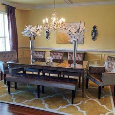 Dining Room With Dark Wood Floors Beautiful Patterned Rug