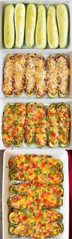 Chicken Enchilada Zucchini Boats - chicken, chili powder, cilantro, cooking, corn, cream, cumin, garlic, healthy, paprika, recipes, sauce, taste, tomato, yellow onion, zucchini