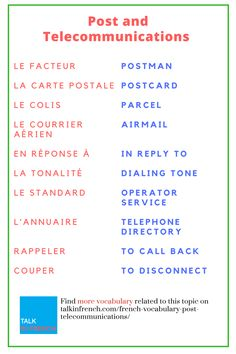 Searching for French vocal lesson on Post & Telecommunication? Find here a number of words and phrases related to this. + download the list in PDF format for free! Get it here: https://www.talkinfrench.com/french-vocabulary-post-telecommunications/