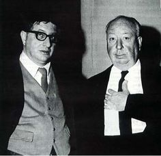 Alfred Hitchcock and music composer Bernard Hermann >>> One of the most prolific and sterling collaborations of all time. The classic Hitchcock thrillers would've been so much less w/o Hermann's scores.