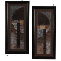 """Crestview Geo Pattern Wall Art (Set of 2) - 44"""" x 20"""" - CVP1017 - Framed Art - Wall Art & Coverings - Decor"""
