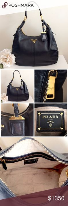 "AuthPRADA Black Leather Hobo Gold HW Purse Bag % Authentic CLASSIC CHIC ✨PRADA✨ Black Leather (Calfskin) Hobo Shoulder Handbag With Golden Hardware. EXCELLENT PREOWNED CONDITION, except for stains inside (please see photos). Otherwise, minor superficial scuffs, scratches. No damage. COMES WITH: dust bag & authenticity card (pictured). ❤️️PRICE IS NEGOTIABLE (Use ""OFFER"" Button)❤️️ Will trade for another authentic designer purse. Trade Value Higher. Must have significant high value trade…"