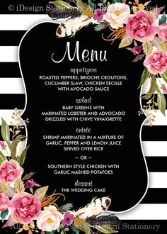 Wedding Menu Cards  Elegant Printable Floral Boho Chic Black