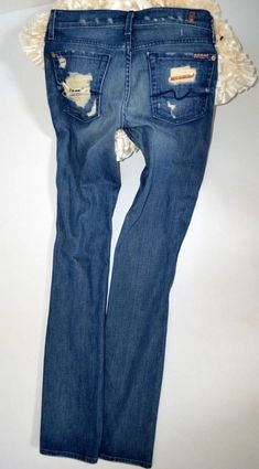 6f0029d39fe new ladies 7 for all mankind low straight sequin JEANS size 27 uk 8 34