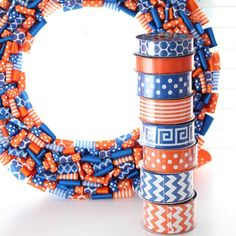 Ok, so maybe I bought some orange and blue ribbon today. And maybe I am going to use that ribbon to make just a couple wreaths. #orangeandblue #GoGators #ribbon #secfootball