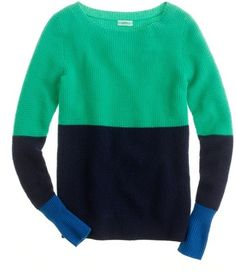 Cashmere waffle colorblock sweater