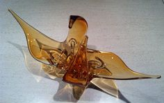 60s Retro Honey Coloured Chalet / Lorraine Stretch Art Glass