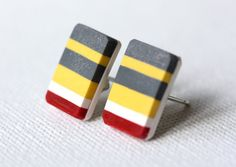 Earrings with grey yellow white red stripes and by zsbekefi