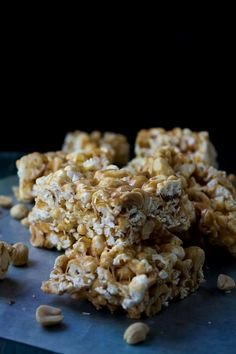 Peanut Butter Marshmallow Popcorn Bars - remember to use GF marshmallows.
