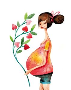 SALE CIJ - Waiting for Baby / Mother New Baby Pregnant Children watercolor illustration print handmade decoration heart pink yellow. Cute Illustration, Watercolor Illustration, Watercolor Paintings, Watercolour, Pregnant Lady, Pregnancy Art, Pregnancy Quotes, Pregnancy Info, Attachment Parenting