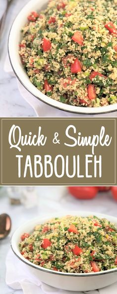 Quick Tabbouleh Recipe - a super simple, fresh and zingy salad of herbs, toma. Couscous Salad, Soup And Salad, Parsley Salad, Herb Salad, Tabouli Recipe, Salad Recipes, Cooking Recipes, Recipes, Salads