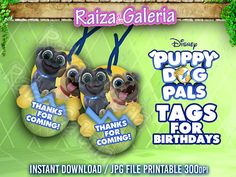 Puppy Dogs Pals TAGS for Birthday Party Bingo Rolly Disney