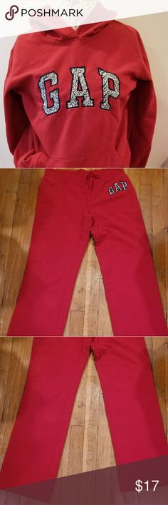 Gap hooded sweat shirt Red hoodie worn once or twice great like new condition. Pants not included but pls look in my closet they are for sale ty GAP Tops Sweatshirts & Hoodies