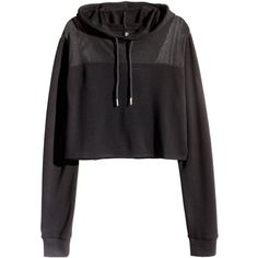H&M Cropped hooded sweatshirt ($20) ❤ liked on Polyvore featuring tops, hoodies, sweatshirts, jackets, black, cropped hoodie sweatshirt, sweat shirts, black crop top, black hoodie sweatshirt and sweatshirt hoodie