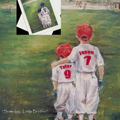 Baseball personalized sports art print, plus 2 or 5 note cards with detachable photos. Names, numbers, colors and ponytails for girls are added to the print   #baseball #sportsprints #sportsprints #artprint  #personalizedsports