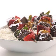 Beef and Broccoli Kabobs Try your favorite takeout dish on kabobs. The recipe uses an Asian-style sauce to flavor the beef and vegetables.