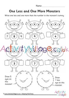 """Make maths fun with this adorable monster worksheet which helps children to practice """"one more"""" and """"one less"""". Monster Crafts, Monster Games, Monster Coloring Pages, Colouring Pages, Maths Resources, Activities, More And Less, Teaching Phonics, Fun Math"""