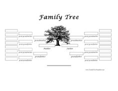 This five-generation printable family tree prints in black and white and includes white boxes in which to put people's names. Free to download and print