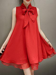 Tie Collar Bowknot Plain Mini Shift Dress - Outfit of the day Shift Dress Outfit, Dress Outfits, Fashion Dresses, Shift Dresses, Stylish Dresses, Cute Dresses, Casual Dresses, Red Ruffle Dress, Dress Red
