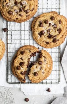 No Chill Chocolate Chip Cookies   Browned Butter Blondie   These easy, no chill chocolate chip cookies are perfectly chewy with crispy, golden brown edges and soft, gooey centers filled with pools of melted chocolate. If you love a giant, extra chewy cookie like the ones you see at your local bakery, then this cookie recipe is for you! Salted Chocolate Chip Cookies, Gooey Cookies, Fancy Cookies, Cookie Dough Recipes, Brownie Recipes, Baking Recipes, Baking Ideas, Perfect Cookie, Melting Chocolate