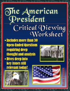 The American President Critical Viewing Questions provides teachers with a NO PREP way to get students thinking deeply about key issues of American politics and culture raised by the film, The American President. Includes detailed suggested answers to make class discussions a snap! These The American President Worksheets are formatted to use minimal paper and offer both consumable and reusable versions to help busy teachers!