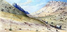 "A wagon train of emigrants headed for California enters a narrow passage of the Davis Mountains. The scene, ""Entrance to Wild Rose Pass,"" was painted by U.S. Army Capt. Arthur T. Lee in the mid- to late 1850s during his tour of duty in the Trans-Pecos. Image courtesy of the Rochester Historical Society"