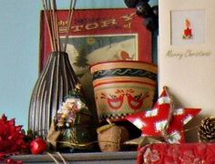 decorations on the mantlepiece...