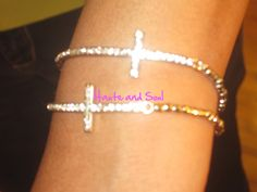 New Beaded Silver or Gold  Crystal Curved Cross by HauteandSoul1, $18.00