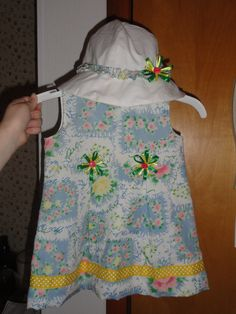 cute little sundress and hat for a niece from a dress that her great-grandmother had worn.