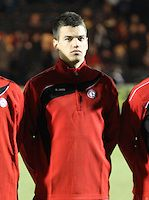 Dejvid Sinani in the Scotland v Luxembourg UEFA Under 21 international qualifying match at St Mirren Park, Paisley on 25.3.13..
