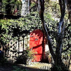 Red courtyard door in Savannah, GA