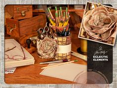Eclectic Elements by Tim Holtz for Coats - Banded Trio of Pencil Cups