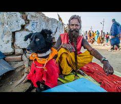 Sadhu & his pet dog by thefotobaba, via Flickr