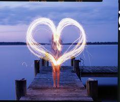Kate Making Heart with Sparklers on Dock, Fuji provia 100 4x5 Slide Film