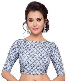 Buy Online Women's Blue Pottery Poly Raw Silk Printed Blouse – Studio Shringaar at Best Price in India! Saree Jacket Designs, Sari Blouse Designs, Printed Sarees, Printed Blouse, Saree Jackets, Stylish Blouse Design, Saree Models, Saree Blouse, Crop Blouse