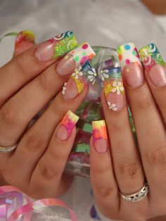 Cute Fun Nails :) #acrylics #french #3D flowers #rainbow #summer #nail art