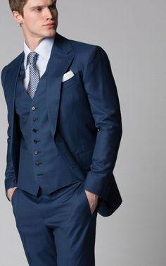 Custom Bespoke Marine Blue Sharkskin Suit with Notch Lapel from Michael Andrews Bespoke Blue Suit Men, Navy Blue Suit, Male Suit, Black Suits, Three Piece Suit, 3 Piece Suits, Mens Fashion Suits, Mens Suits, Groom Suits