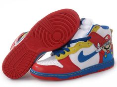 Discount Authentic Mens Nike Dunk High Shoes Red/White/Blue/Yellow Mario
