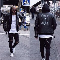 super popular 940f3 df46a Kosta Williams - Selfmade Biker Jacket, H M White Tee, Asos Skinny Jeans (  Self Customized ), Adidas Superstar 2 - This is art .