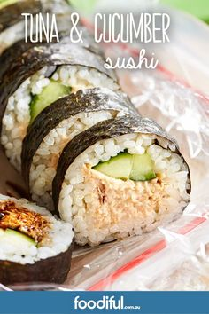 Give the sandwiches a break, and surprise kids with healthy, homemade sushi. This recipe is packed w Tuna Sushi Recipe, Cucumber Sushi Rolls, Sushi Roll Recipes, Fish Recipes, Asian Recipes, Canned Tuna Recipes, Sushi For Kids, Kid Sushi, Vegetarian Recipes