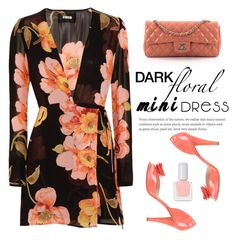"""Dark Floral Mini Dress"" by conch-lady ❤ liked on Polyvore featuring Reformation, Oscar de la Renta, Chanel, tenoverten, darkfloraldress, tenovertennailpolishjane001, darkfloralminidress and reformationfloralprintgeorgettewrapdress"