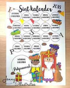 Deze leuke Sintkalender 2018 helpt de kinderen op een leuke manier overzicht te houden in een spannende tijd! Met 32 glossy stickers! Childrens Holidays, Dutch Language, Cool Kids, Activities For Kids, Stencils, Christmas Crafts, December, Doodles, Presents