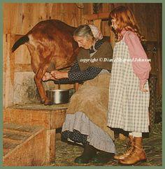 Tasha Tudor | Sarah watching Tasha Tudor milking h er goat. Notice that Tasha has ...