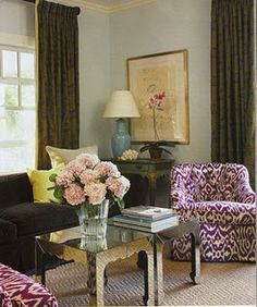 madeline weinrib chairs. Good use of color here. Such a nice layered look.