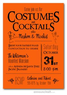 Orange Halloween party invitations with Costumes and Cocktails, Mayhem & Mischief wording are perfect for Halloween cocktail party invitations or Halloween costume party invitations. See our entire collection at Announcingit.com