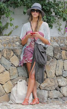The Inspiration: Jessica Alba, street-style star, put aside her perfect day-to-day duds for a casual cover-up and oversize bag to hit the shore.