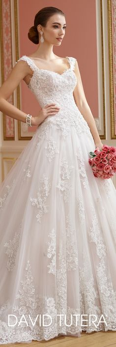 David Tutera for Mon Cheri Fall  2017 Collection - Style No. 217210 Nellie - sleeveless lace and tulle ball gown wedding dress with dropped waist and scooped back