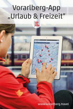 """Die App """"Urlaub & Freizeit"""" von Vorarlberg Tourismus ist das Planungs- und Informationswerkzeug für einen Urlaub in Vorarlberg. #vorarlbergentdecken #visitvorarlberg #vorarlberg #urlaubinvorarlberg App, Interactive Map, Helpful Tips, Travel Advice, Viajes, Cards, Apps"""