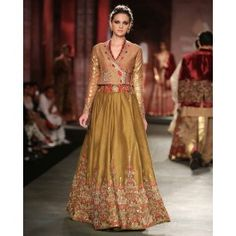 Olive Green Lengha Set with Angarakha Blouse by Anju Modi | India Couture Week - 2014